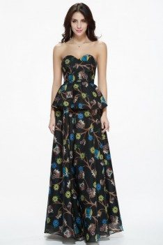 Empire Waist Animal Print Long Party Dress