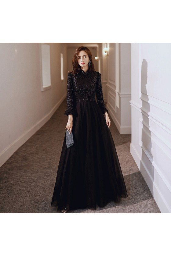 Sparkly Long Black Sequins With Tulle Evening Dress With Long Sleeves - AM79017