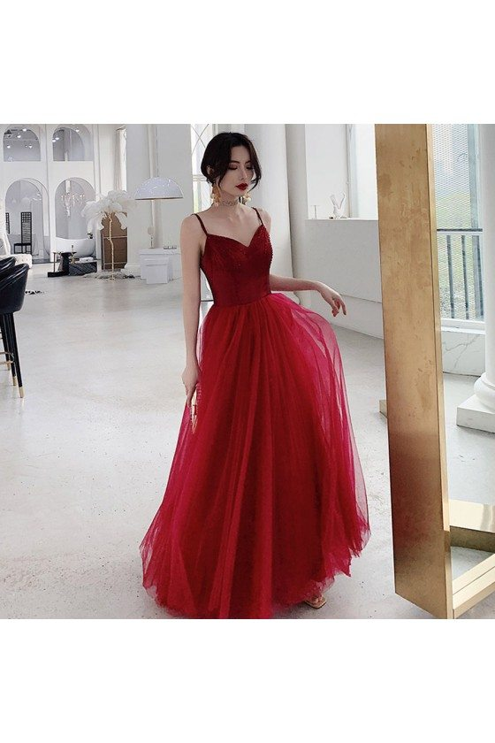 Red Burgundy Tulle Two Tone Cheap Prom Dress With Straps