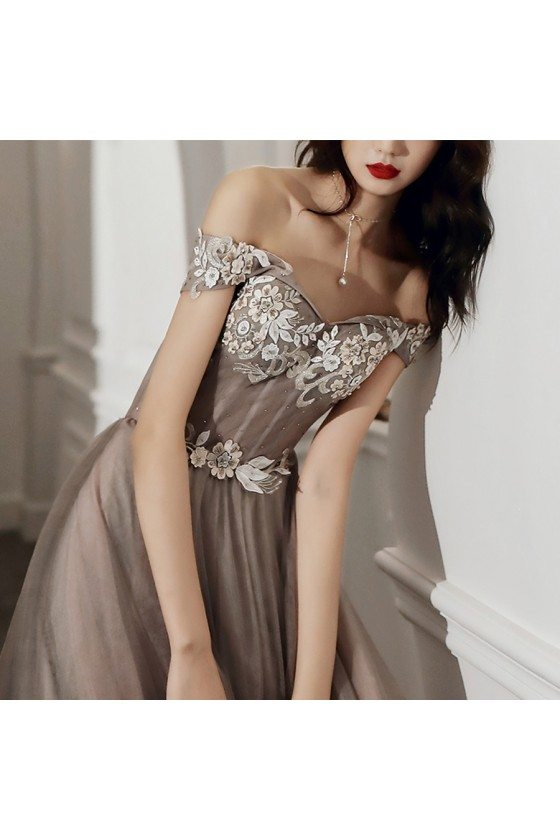 Grey Off Shoulder Lace Gorgeous Tulle Prom Dress For Less - AM79068