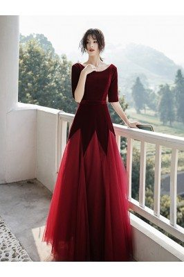 Velvet With Long Tulle...