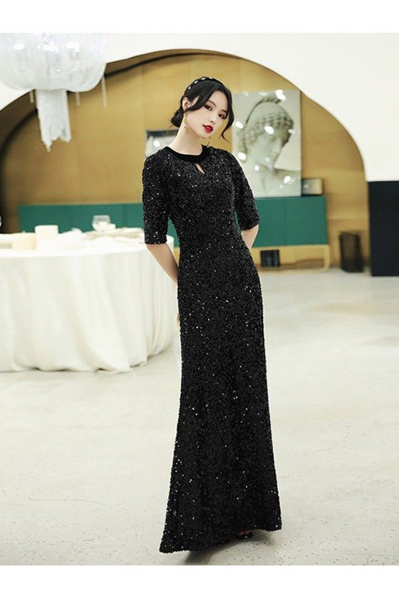 Modest Long Black Sparkly Evening Dress With Half Sleeves