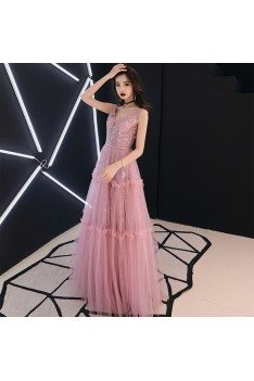 Sparkly Sequins Pink Tulle Vneck Prom Dress Sleeveless - AM79158