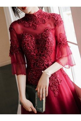 Long Beaded Lace High Neck Prom Dress Burgundy With Sleeves - AM79051