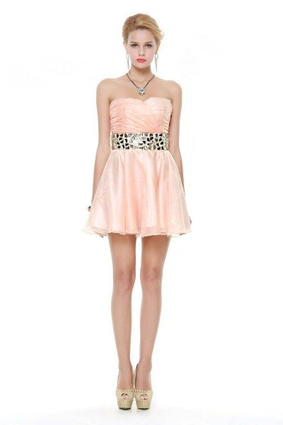 Short Strapless Beaded Tulle Dress Onsale