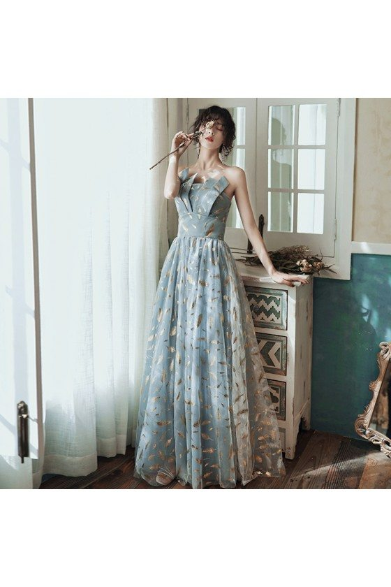 Blue With Gold Feather Patterns Aline Long Prom Dress Unique - AM79043