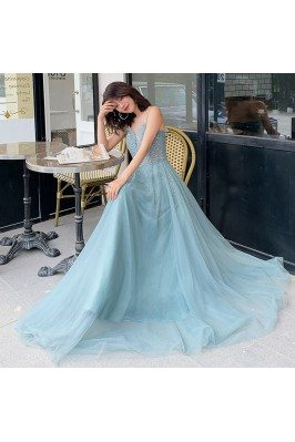 Bling Beaded Blue Tulle...