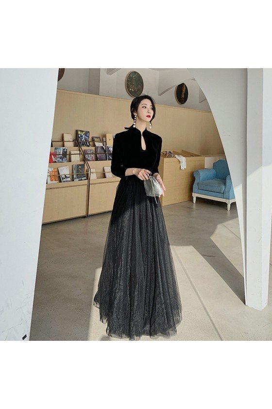 Simple Long Black Tulle With Velvet Formal Dress With Long Sleeves - AM79006