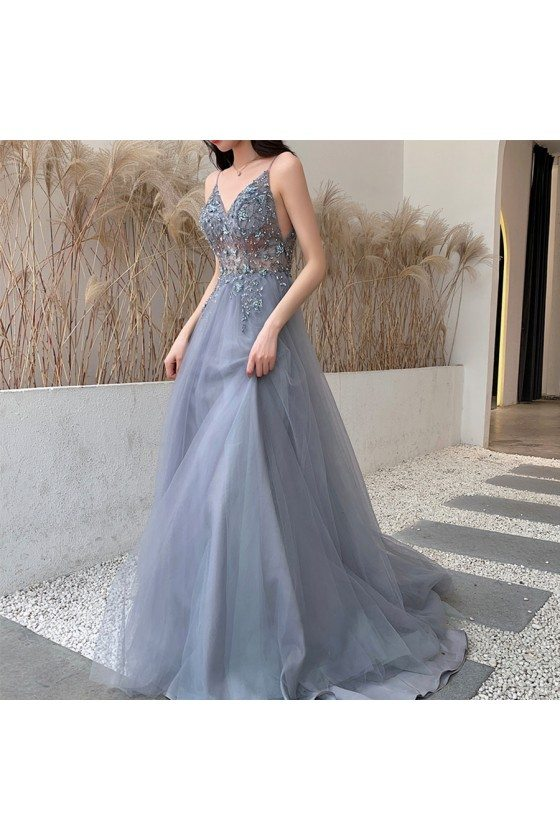 Grey Tulle Sheer Top Vneck Flowy Prom Dress With Spaghetti Straps