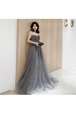 Stunning Dusty Grey Flowy Long Tulle Prom Dress With Sequined Straps - AM79138