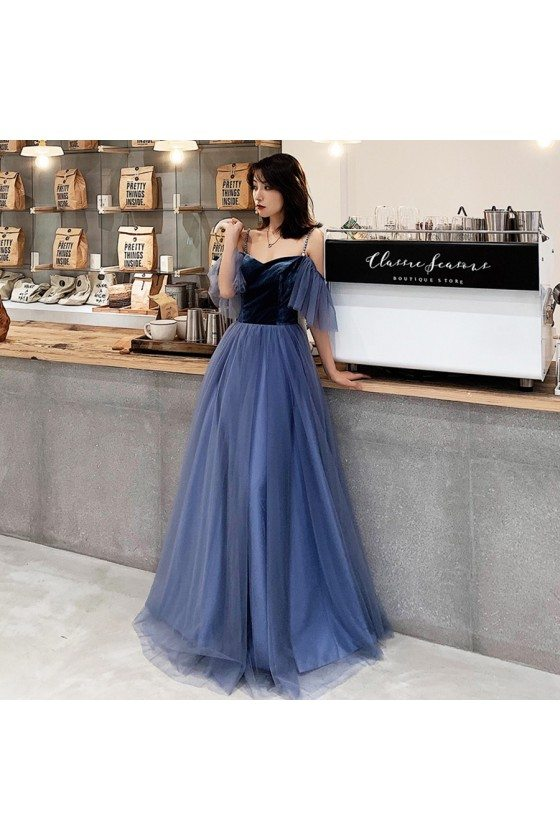 Simple Blue Velvet With Tulle Long Cheap Prom Dress With Straps