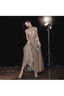 Khaki Aline Tulle Beaded Illusion Vneck Halter Prom Dress - AM79069