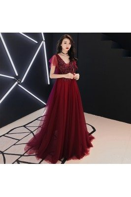 Burgundy Flowy Long Tulle Formal Dress Vneck With Tulle Sleeves - AM79155