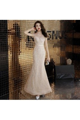 Light Champagne Sparkly Mermaid Special Occasion Dress With High Neck - AM79163
