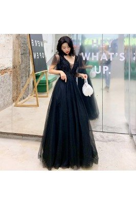 Black Beaded Lace Deep Vneck Formal Prom Dress With Tulle - AM79131