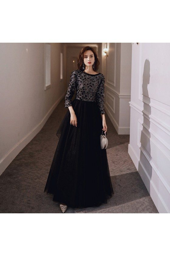 Bling Beaded Top Classy Long Black Evening Dress With Long Sleeves