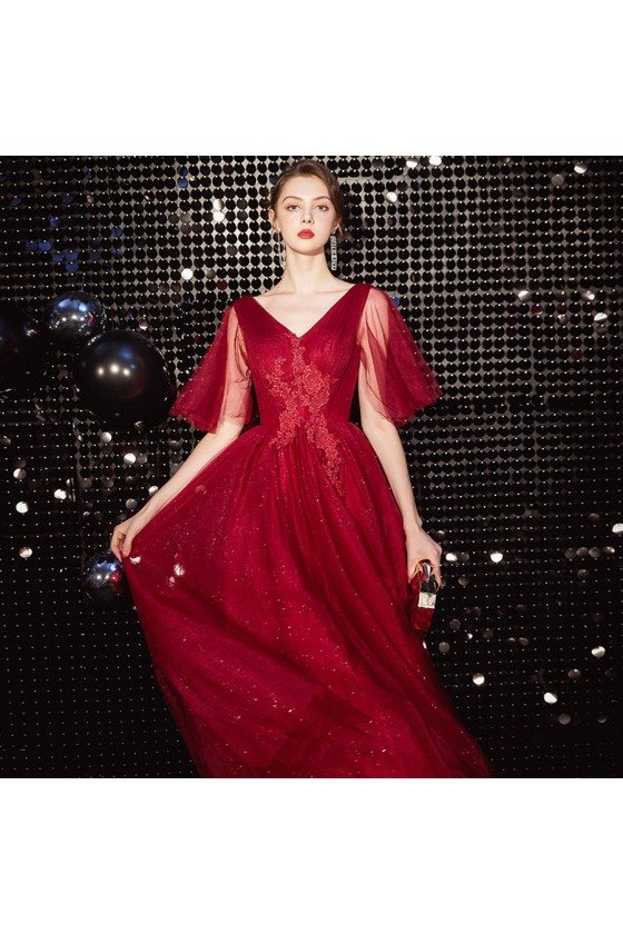 Lace Bling Tulle Burgundy Long Prom Dress With Tulle Sleeves - AM79081