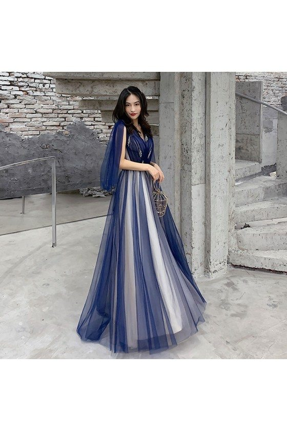 Blue Tulle Vneck Cheap Prom Dress With Cape Sleeves - AM79002