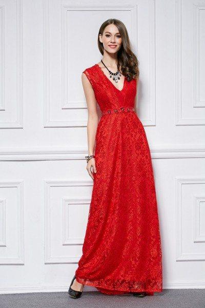 Red V-neck Lace Long Dress