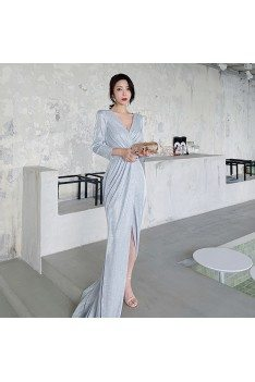 Sexy Grey Silver High Split Evening Wrap Dress With Long Sleeves - AM79007