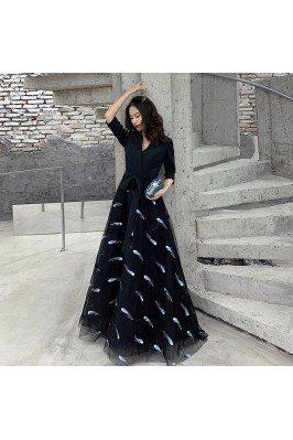 Fashion Vneck Long Black...