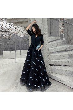 Fashion Vneck Long Black Party Dress With Feathers Patterns - AM79014