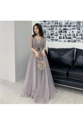 Modest Grey Tulle Aline...