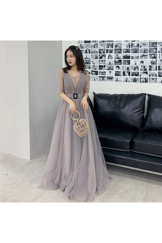 Modest Grey Tulle Aline Formal Dress With Illusion Vneck And Sleeves - AM79012