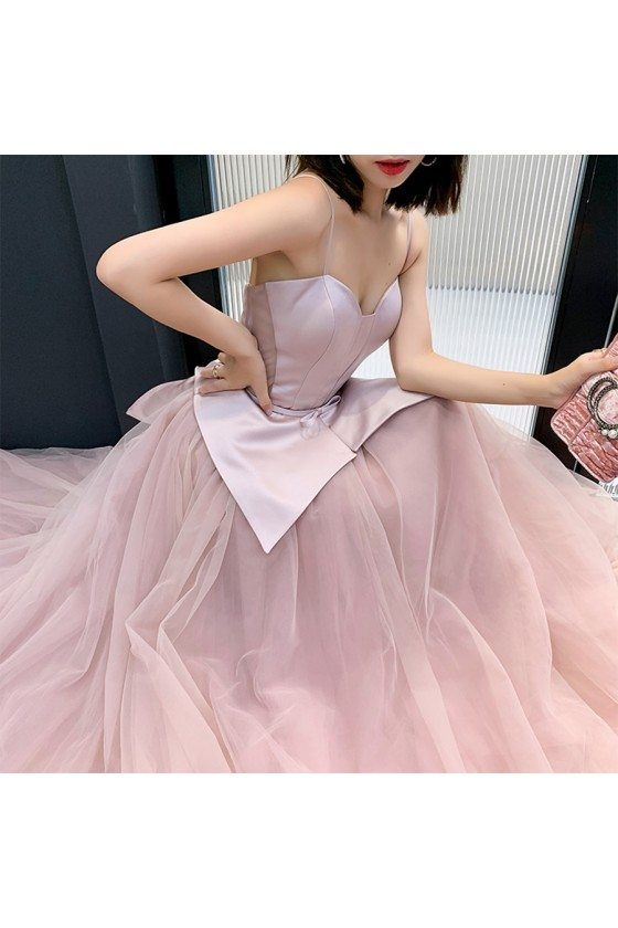 Rose Pink Satin With Tulle Ballgown Formal Dress With Spaghetti Straps - AM79120