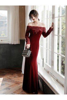 Burgundy Long Velvet...