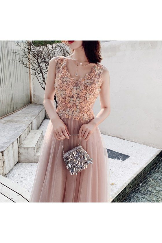 Nude Pink Flowers Vneck Cheap Prom Dress With Long Tulle - AM79112
