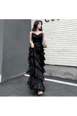 Slim Long Black Tulle...
