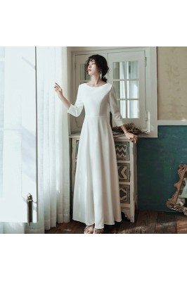 Elegant Simple Long White Formal Dress With Sleeves - AM79041