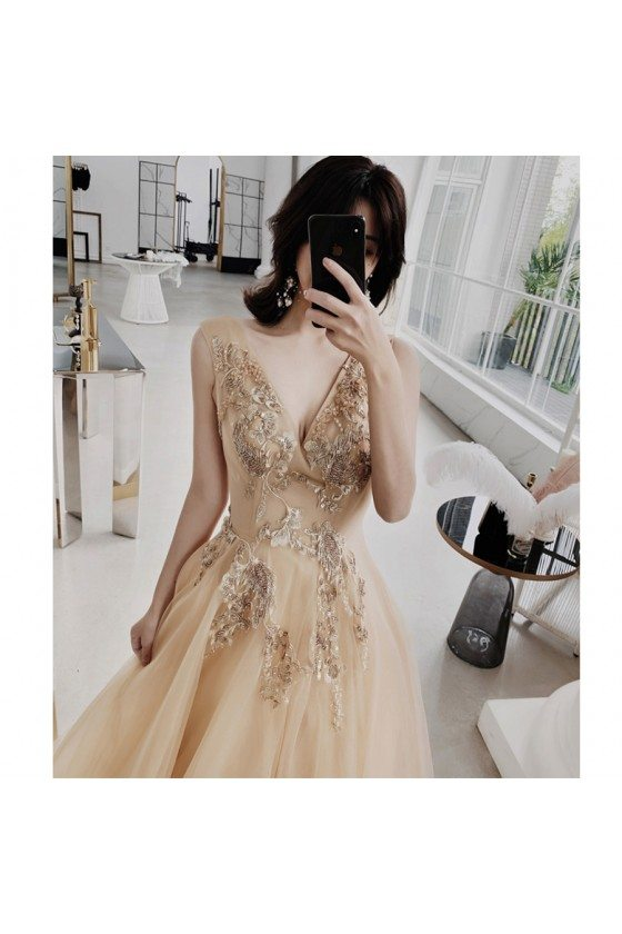 Luxury Champagne Gold Vneck Prom Dress Open Back With Sparkly Embroidery
