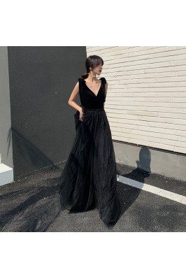 Sleeveless Sexy Vneck Tulle Party Dress For Formal - AM79072