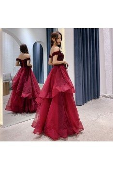 Sexy Off Shoulder Burgundy Long Prom Dress With Ruffles - AM79063