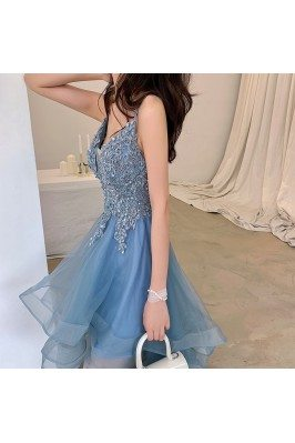 High Low Blue Tulle Ruffled...