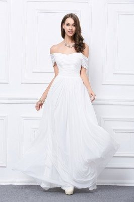 Pure White Ruched Off The Shoulder Long Prom Dress