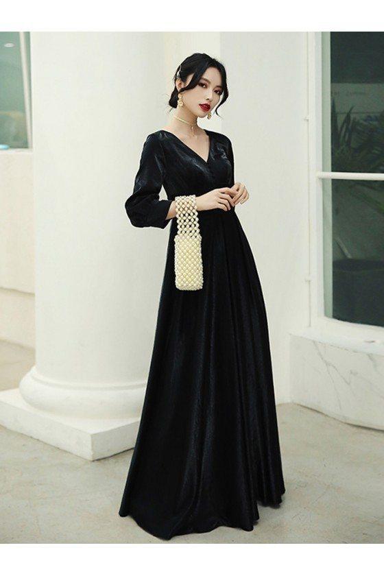 Retro Long Black Vneck Velvet Evening Dress With Sleeves