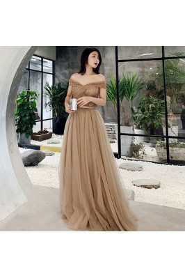 Khaki Pretty Off Shoulder Tulle Prom Dress With Beaded Top - AM79116