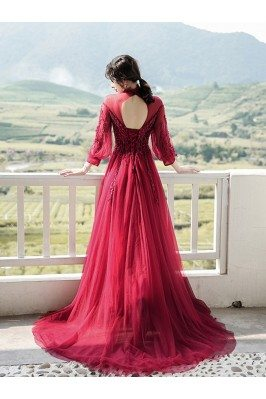 Burgundy Keyhole Back Long Train Formal Dress With Long Sleeves - AM79058