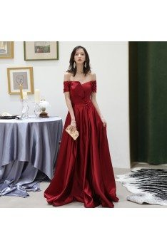 Classy Off Shoulder Burgundy Satin Pleated Evening Dress With Beading - AM79156