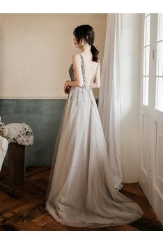 Popular Sequined Vneck Grey Cheap Prom Dress With Train - AM79054