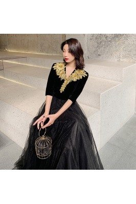 Formal Long Black With Gold Embroidery Formal Dress With Half Sleeves - AM79004