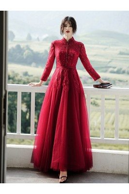 Beaded Lace Aline Long Formal Dress With Long Sleeves - AM79056