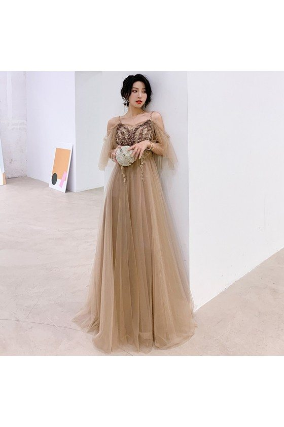 Khaki Pretty Aline Tulle Cheap Long Prom Dress With Straps
