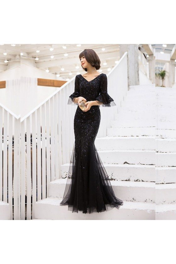 Long Black Sequined Mermaid Party Prom Dress With Flare Sleeves - AM79164