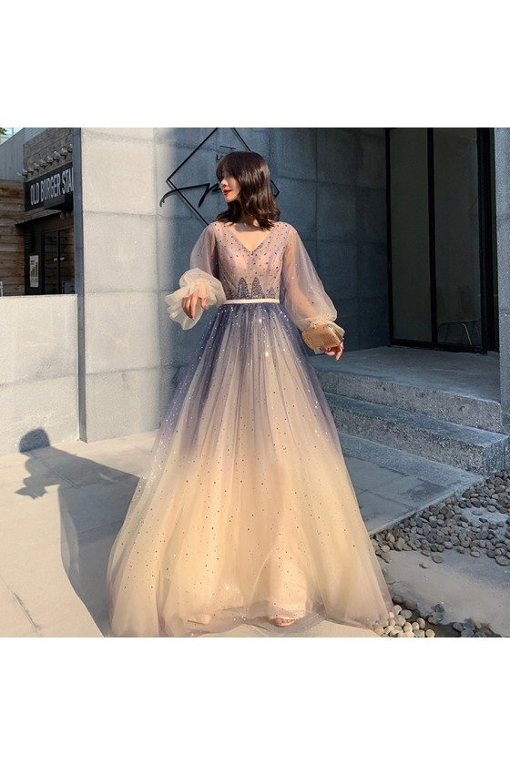 Ombre Long Tulle Sparkly Prom Dress With Fairy Bubble Sleeves
