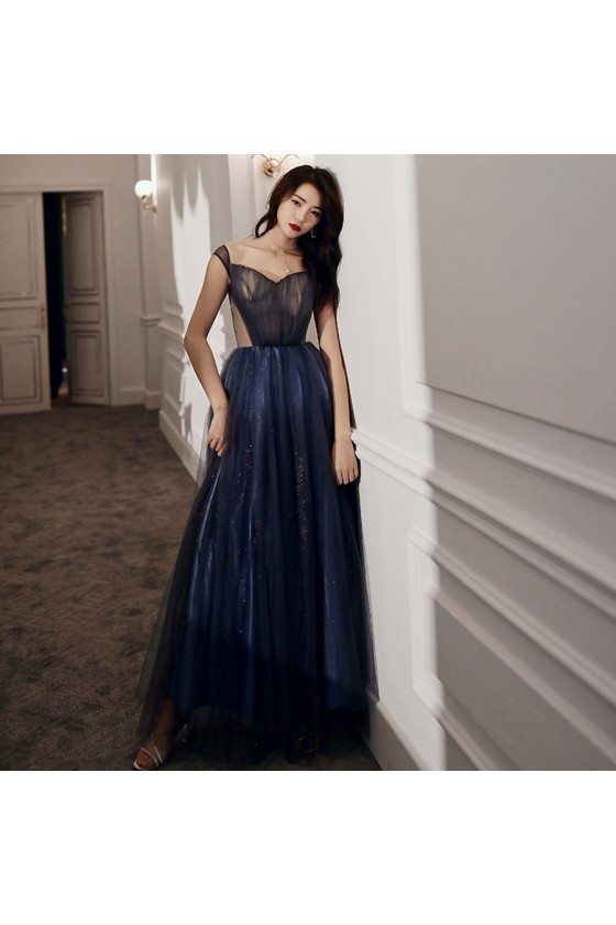 Blue Tulle Long Cutout Cheap Prom Dress With Laceup - AM79064