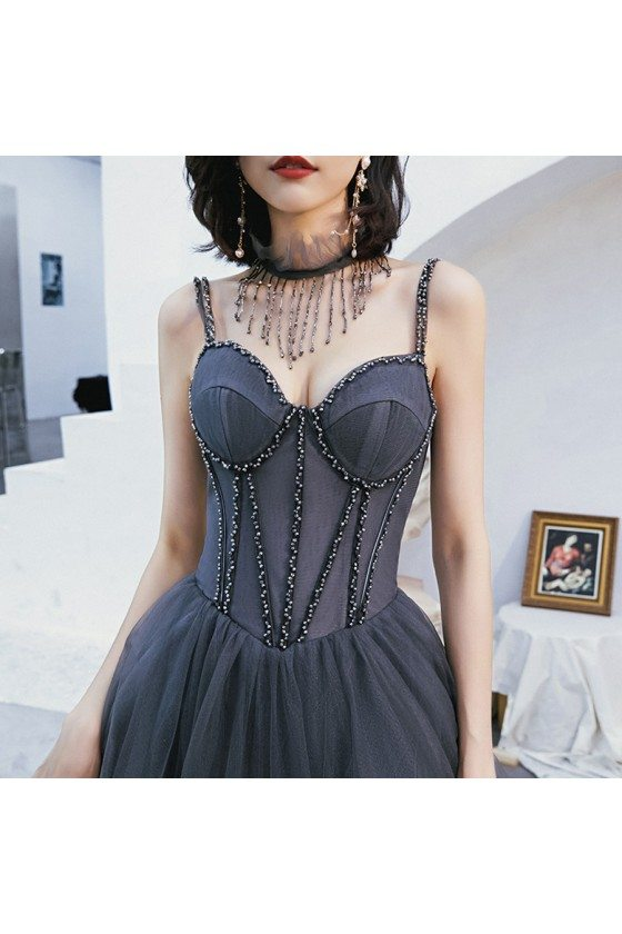 Corset Back Beaded Long Tulle Prom Dress With Spaghetti Straps - AM79050